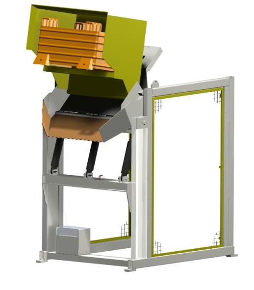Das Kippgerät dient zum Beladen von Zuführanlagen oder sonstigen Geräten. Die MaHa Korz GmbH ist spezialisiert auf die Planung, Konstruktion und Fertigung von Automationsanlagen, Fördertechnik und individuellen Sondermaschinen.